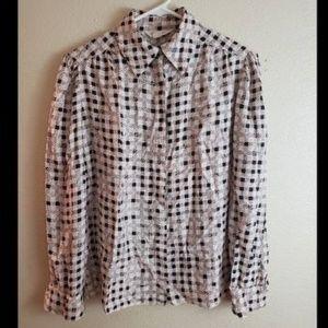 ST. JOHN 100% Silk Pink Long Sleeve Button Blouse